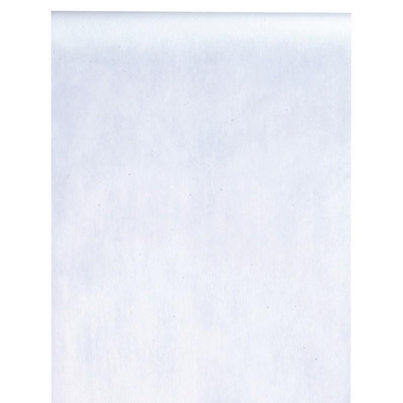 Chemin de table Blanc, rouleau de 10 mètres, largeur 30 cm.