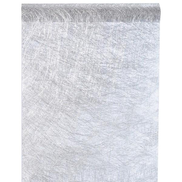 Chemin de table Fanon métallisé, couleur argent, 1 rouleau de 5 mètres.. Chemin de table, modèle