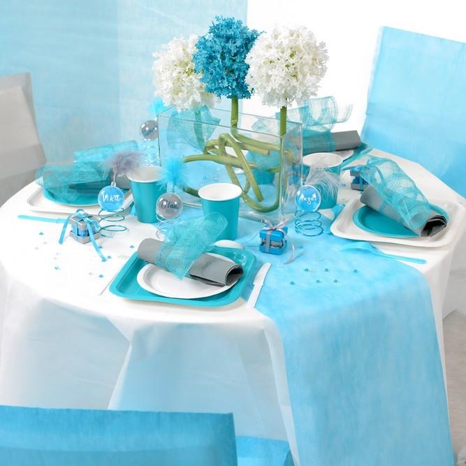 Service de table bleu turquoise - Chemin de table colore ...