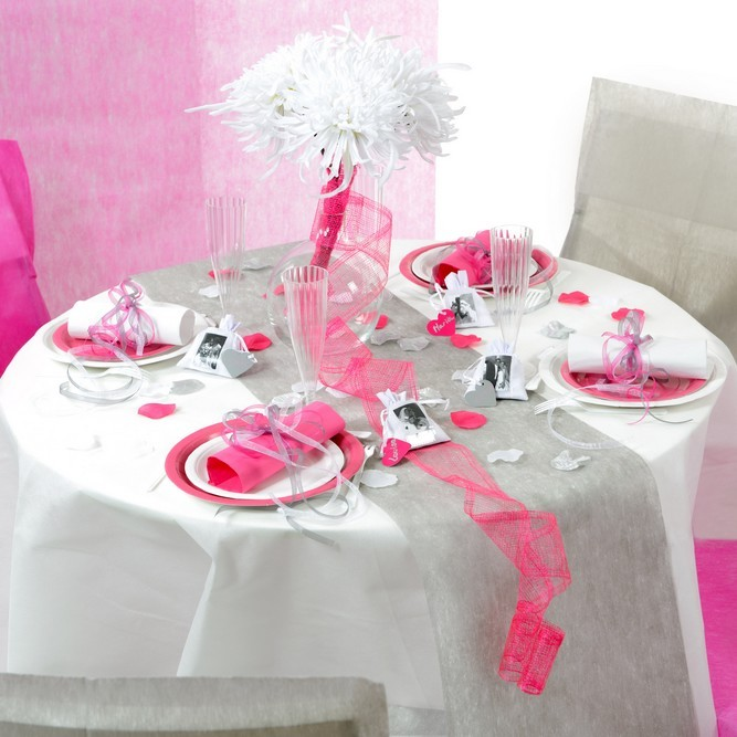 Rouleu de 10 m tre chemin de table rose en polyester non - Chemin de table gris perle ...