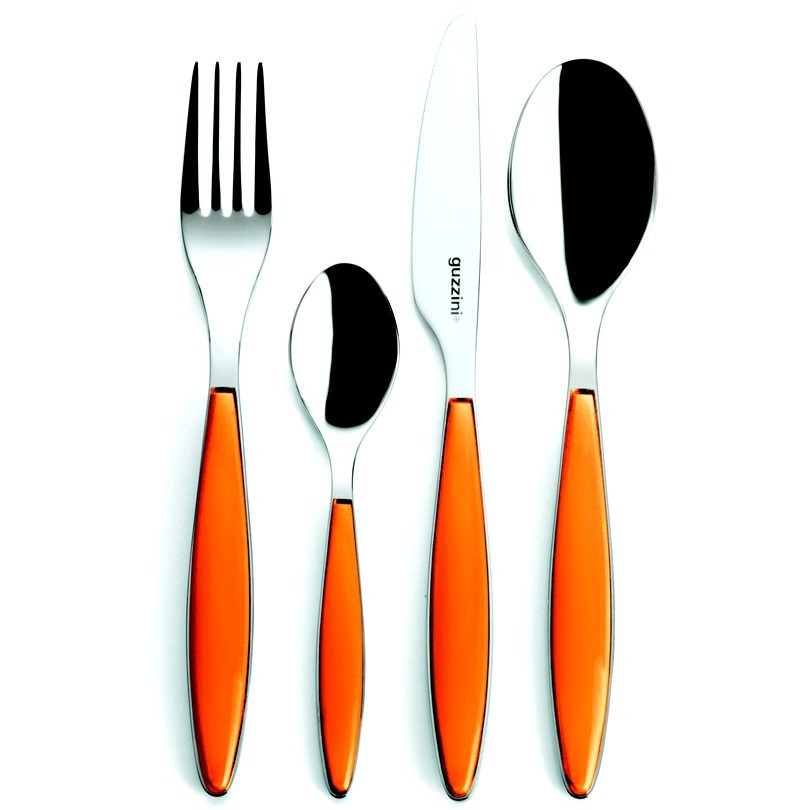 Couverts guzzini orange feeling for Couvert de table luxe
