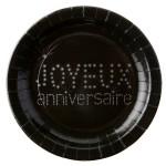 """Sachet de 10 assiettes en carton """"Joyeux Anniversaire"""" noires"""
