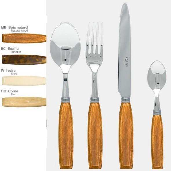 Ensemble 24 pièces Djembe, marque Sabre. Taille des couverts: Fourchette de table (22cm), Couteau de table (24cm), Cuillère de table (22