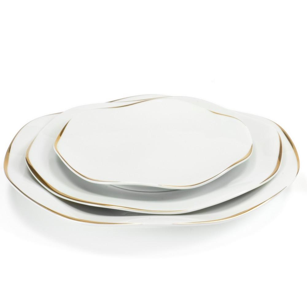 Assiettes Etincelle Or, modèle Médard de Noblat. Assiettes en porcelaineondulée, façonnées à la main,