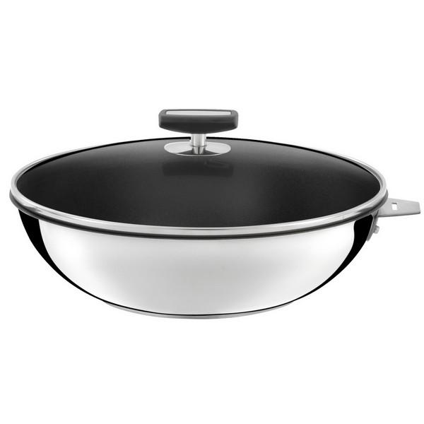 Wok revêtu Malice Cuisinox diamètre 28 cm + 1 poignée et 1 couvercle. Wok revêtu, modèle Malice, de la marque Cuisinox. Diamètre du wok: 28 cm, vendu