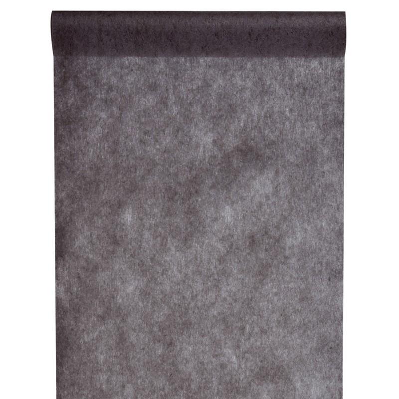 Chemin de table noir polyester non tiss en rouleau de 10 m tres x largeur 30 cm - Chemin de table en rouleau ...