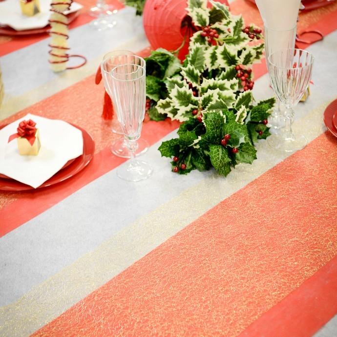 Chemin de table orange polyester non tiss en rouleau de - Chemin de table orange ...