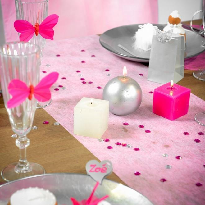 rouleu de 10 m tre chemin de table rose en polyester non. Black Bedroom Furniture Sets. Home Design Ideas