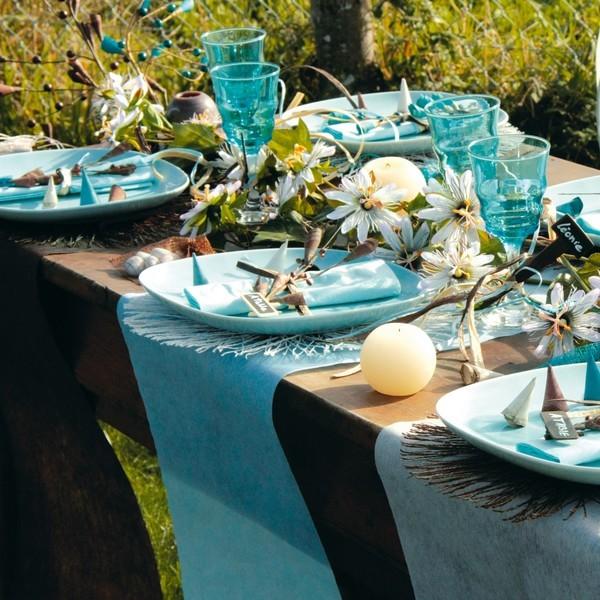 Rouleau de 10 m tres chemin de table turquoise en polyester non tiss - Chemin de table en rouleau ...