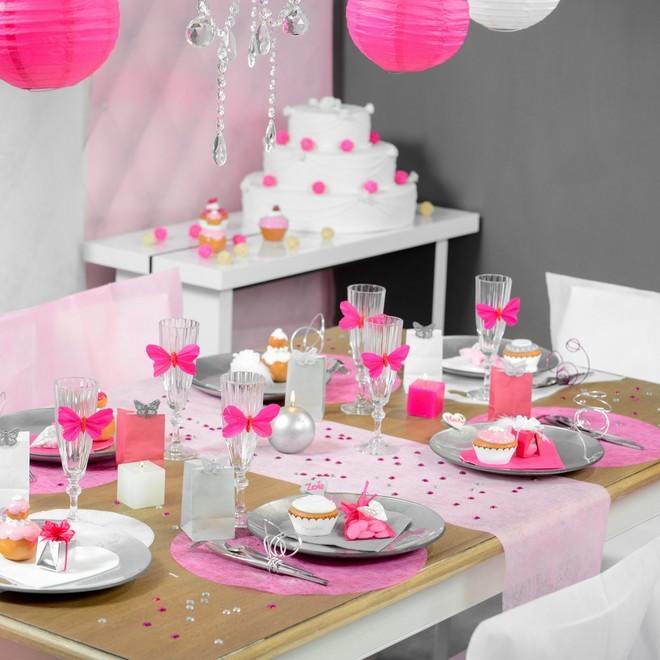 Rouleu de 10 m tre chemin de table rose en polyester non tiss - Chemin de table en rouleau ...
