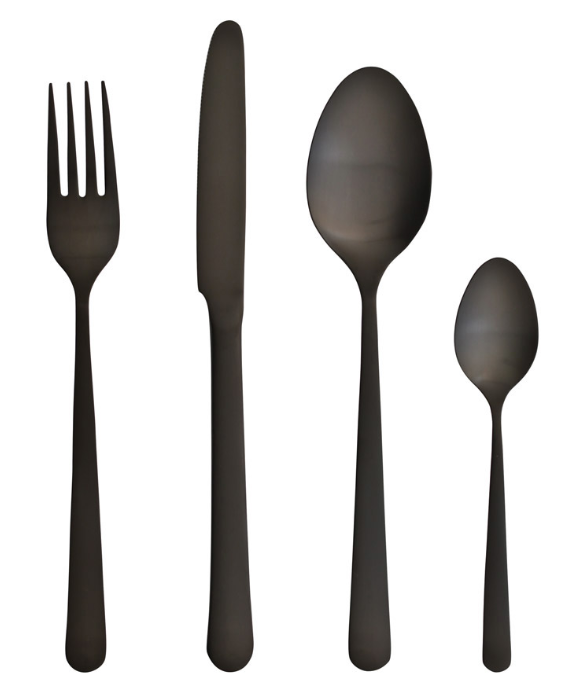 Set de 24 pi ces oslo noir mat de la marque herdmar - Menagere de table ...