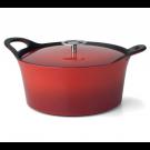 Cocotte ronde rouge Volcan Cuisinox avec couvercle, diam 20 cm