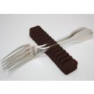 Rangement argenterie: Support marron pour 12 cuillères/fourchettes de table ou à dessert.