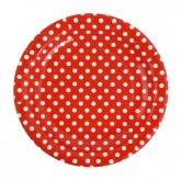 Sachet de 10 assiettes en carton Rouges à pois blancs, diamètre 23 cm.
