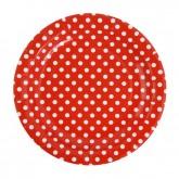 Sachet de 10 assiettes à dessert en carton Rouges à pois blancs, diamètre 18 cm.