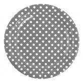 Lot de 10 assiettes en carton Grises à pois blancs, diamètre 23 cm.