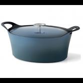 Cocotte ovale bleue denim Volcan Cuisinox avec couvercle, diam 29 cm