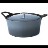 Cocotte ronde bleu denim Volcan Cuisinox avec couvercle, diam 20 cm