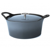 Cocotte ronde bleu denim Volcan Cuisinox avec couvercle, diam 24 cm