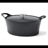 Cocotte ovale noire Volcan Cuisinox avec couvercle, diam 29 cm