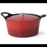 Cocotte ronde rouge Volcan Cuisinox avec couvercle, diam 24 cm