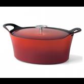 Cocotte ovale rouge Volcan Cuisinox avec couvercle, diam 29 cm