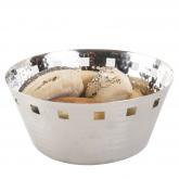 Petite corbeille à pain ronde ajourée en métal martelé