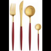 Set de 24 pièces Goa rouge et doré Cutipol sans écrin