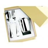 Coffret timbale, cuillère et fourchette en métal argenté Olri